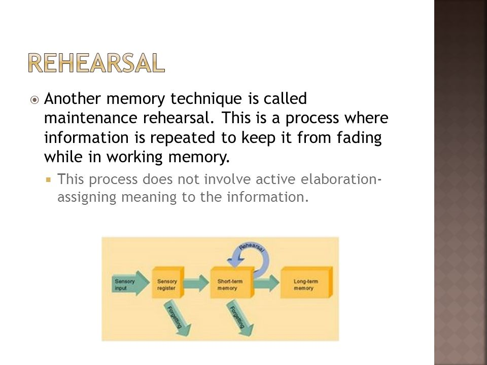 Another memory technique is called maintenance rehearsal. This is a process where information is repeated to keep it from fading while in working memo
