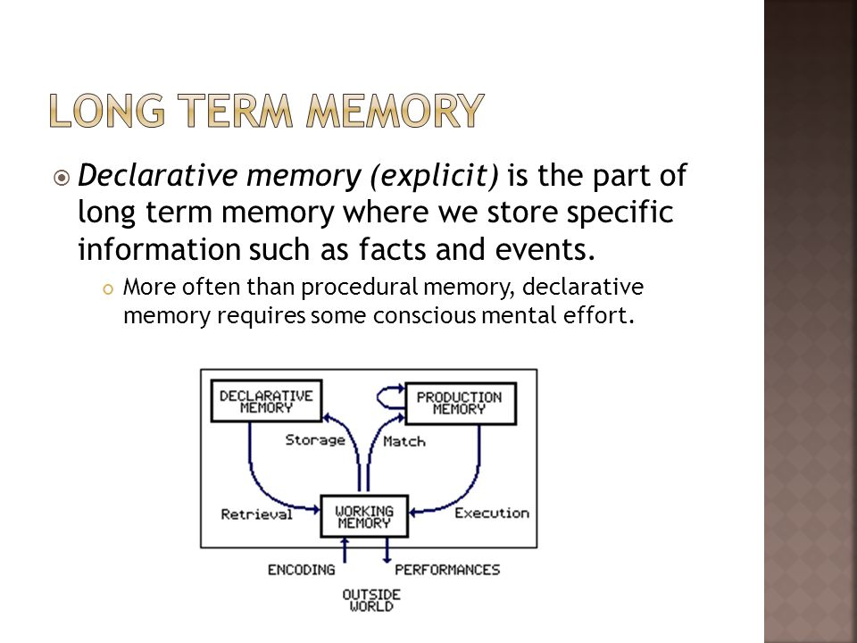 Declarative memory (explicit) is the part of long term memory where we store specific information such as facts and events. More often than procedural