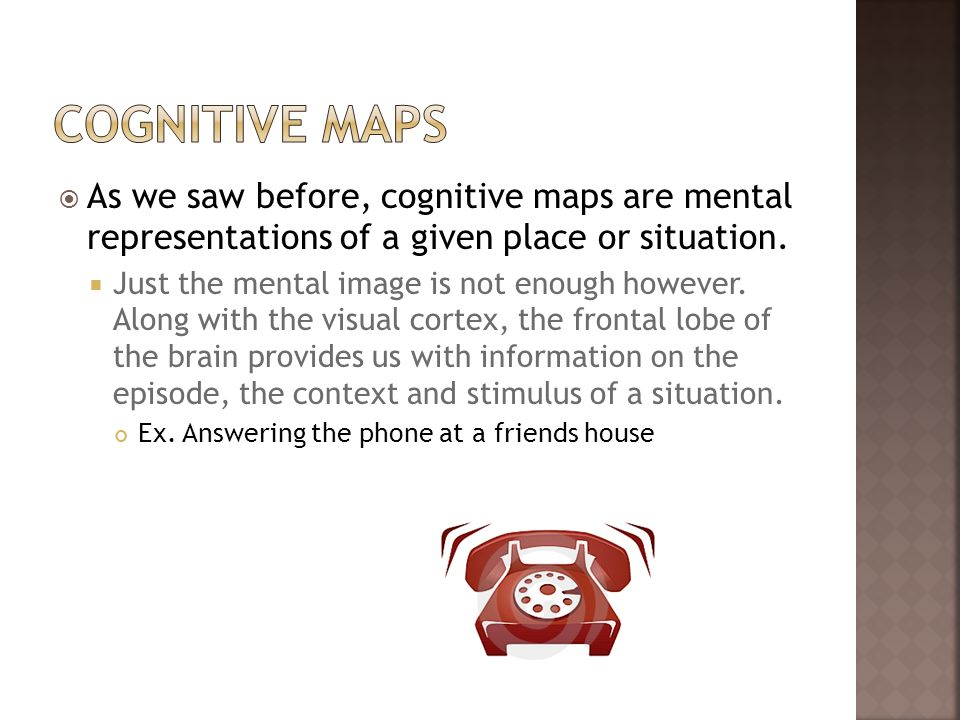 As we saw before, cognitive maps are mental representations of a given place or situation. Just the mental image is not enough however. Along with the