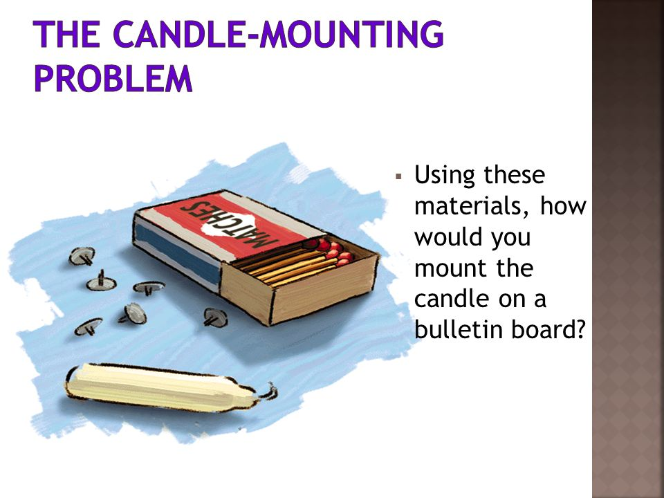 Using these materials, how would you mount the candle on a bulletin board?