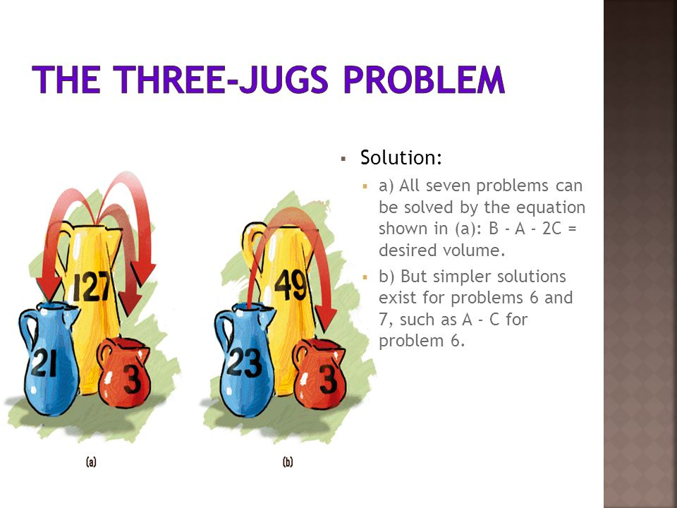 Solution: a) All seven problems can be solved by the equation shown in (a): B - A - 2C = desired volume. b) But simpler solutions exist for problems 6