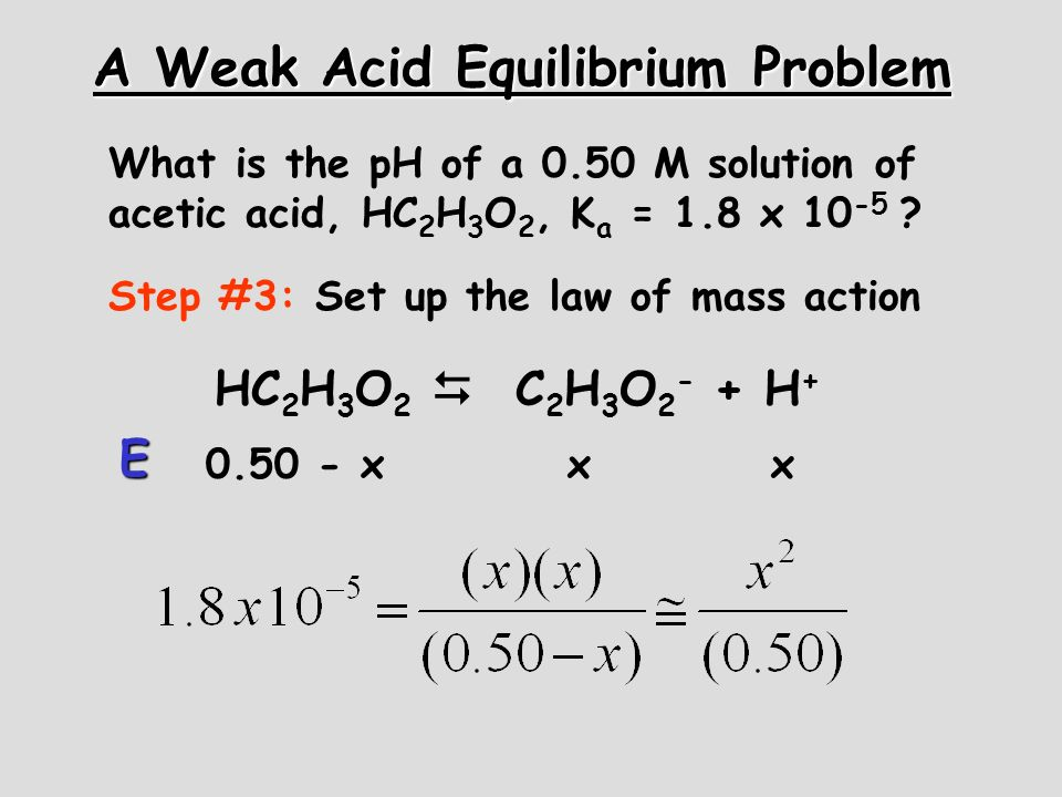 A Weak Acid Equilibrium Problem What is the pH of a 0.50 M solution of acetic acid, HC 2 H 3 O 2, K a = 1.8 x 10 -5 ? Step #3: Set up the law of mass