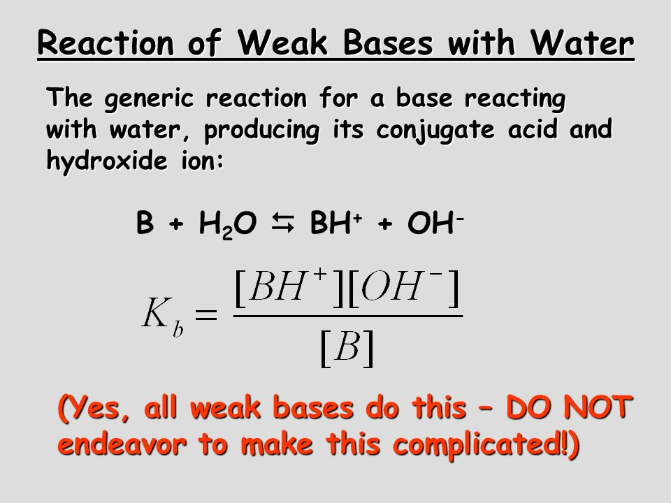 Reaction of Weak Bases with Water The generic reaction for a base reacting with water, producing its conjugate acid and hydroxide ion: B + H 2 O BH +