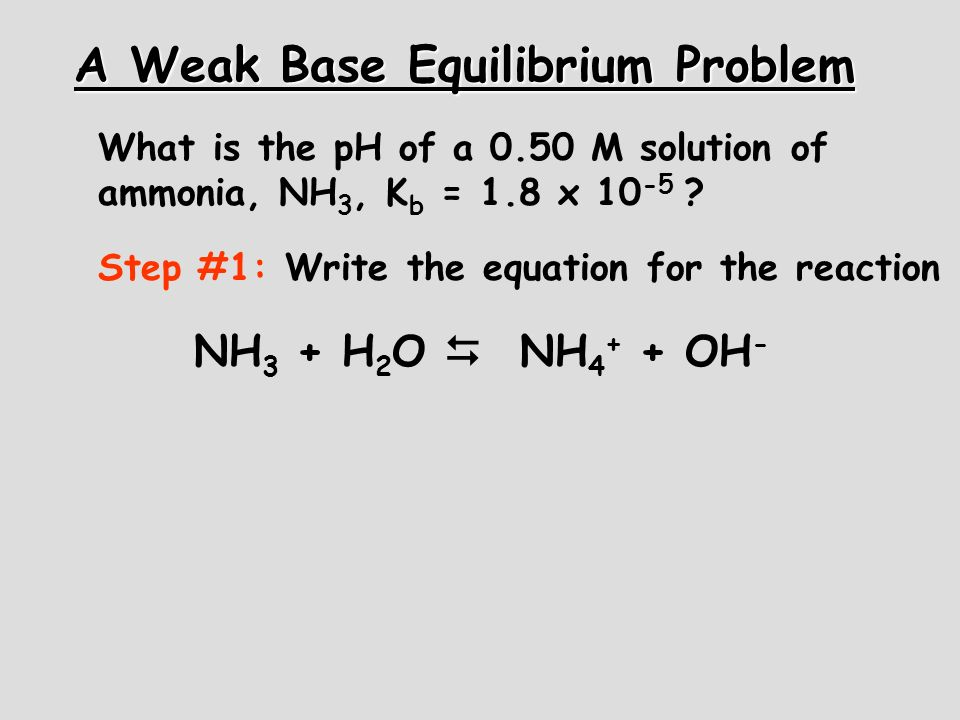 A Weak Base Equilibrium Problem What is the pH of a 0.50 M solution of ammonia, NH 3, K b = 1.8 x 10 -5 ? Step #1: Write the equation for the reaction