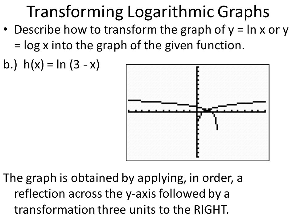 Transforming Logarithmic Graphs Describe how to transform the graph of y = ln x or y = log x into the graph of the given function. b.) h(x) = ln (3 -