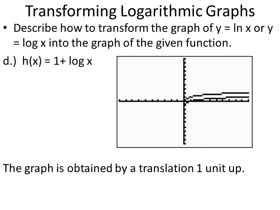 Transforming Logarithmic Graphs Describe how to transform the graph of y = ln x or y = log x into the graph of the given function. d.) h(x) = 1+ log x