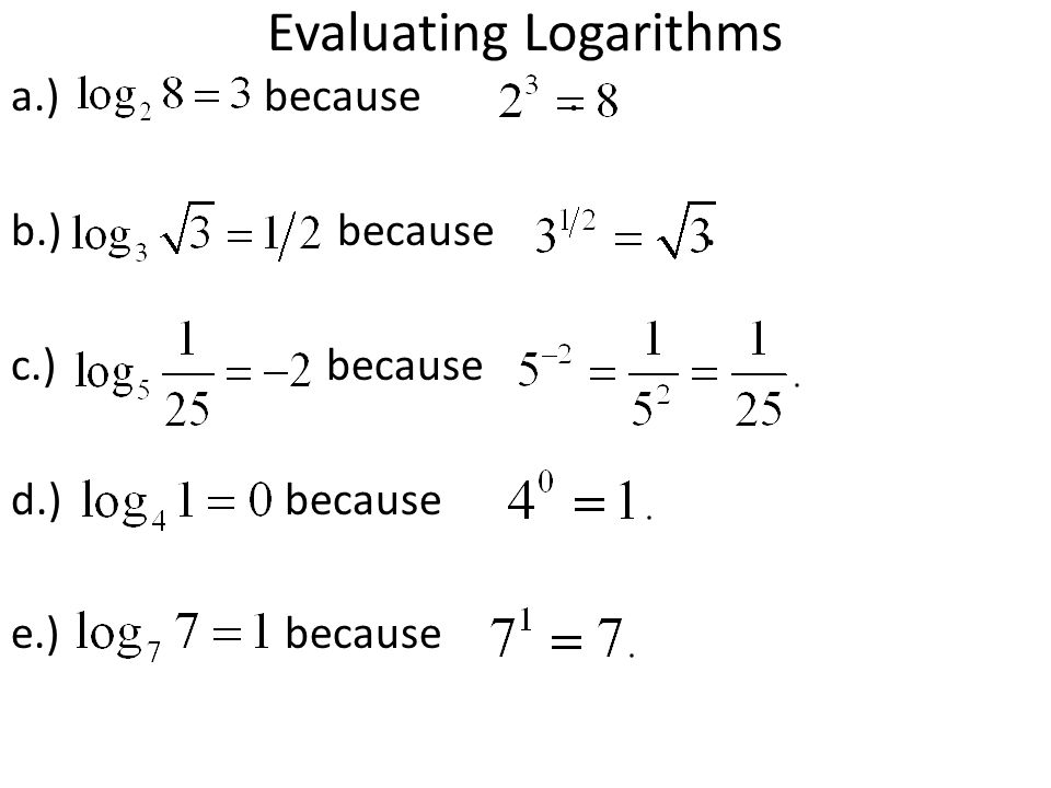 Evaluating Logarithms a.) because. b.) because. c.)because d.) because e.) because