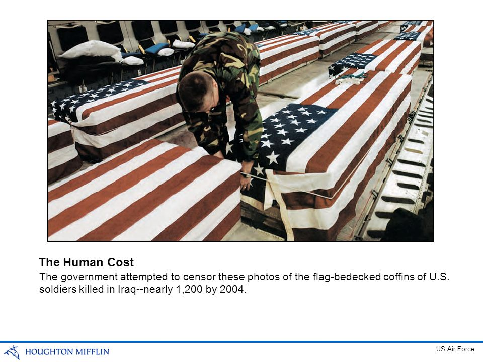 The government attempted to censor these photos of the flag-bedecked coffins of U.S. soldiers killed in Iraq--nearly 1,200 by 2004. The Human Cost US