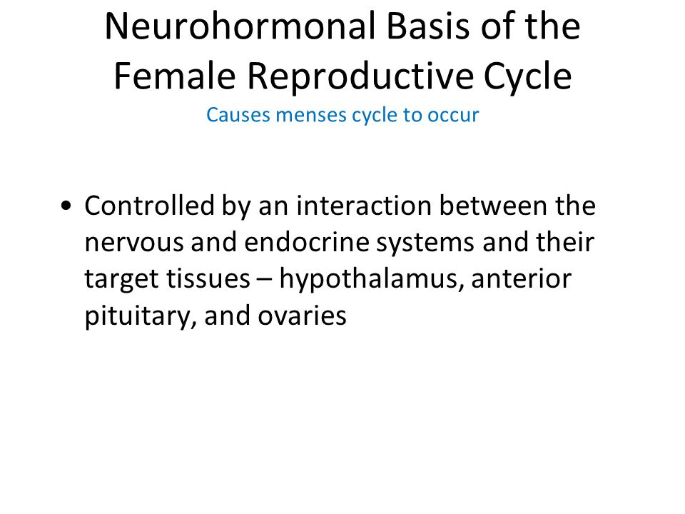 Neurohormonal Basis of the Female Reproductive Cycle Causes menses cycle to occur Controlled by an interaction between the nervous and endocrine syste