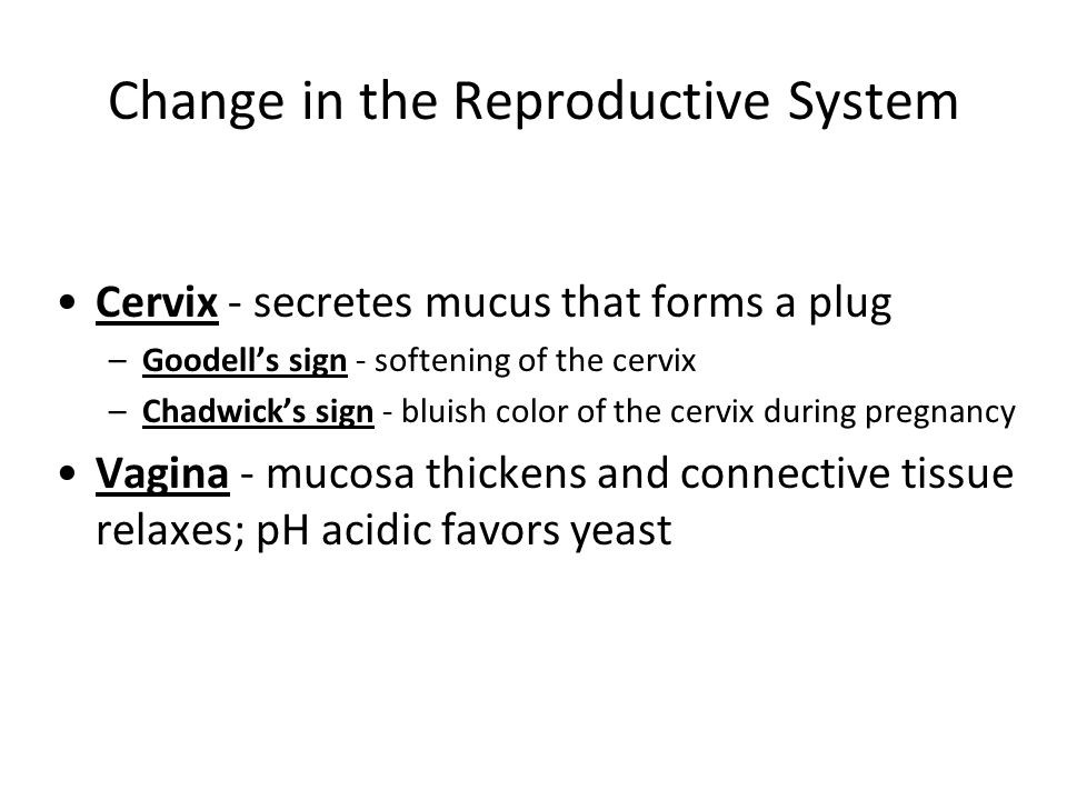 Change in the Reproductive System Cervix - secretes mucus that forms a plug –Goodells sign - softening of the cervix –Chadwicks sign - bluish color of