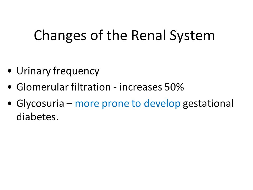 Changes of the Renal System Urinary frequency Glomerular filtration - increases 50% Glycosuria – more prone to develop gestational diabetes.