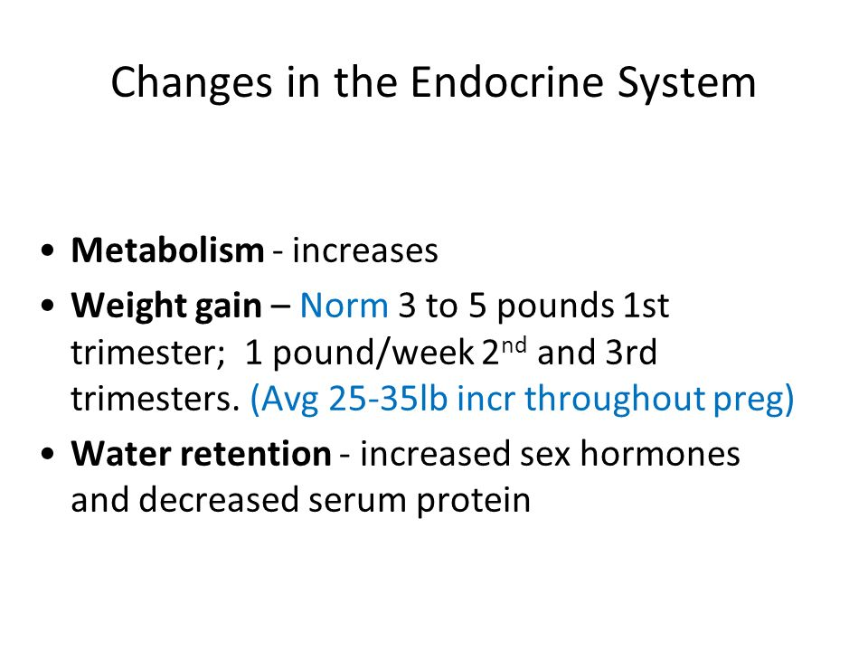 Changes in the Endocrine System Metabolism - increases Weight gain – Norm 3 to 5 pounds 1st trimester; 1 pound/week 2 nd and 3rd trimesters. (Avg 25-3