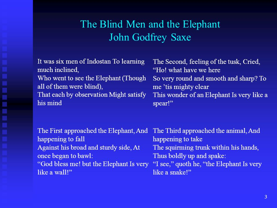 3 It was six men of Indostan To learning much inclined, Who went to see the Elephant (Though all of them were blind), That each by observation Might satisfy his mind The Blind Men and the Elephant John Godfrey Saxe The First approached the Elephant, And happening to fall Against his broad and sturdy side, At once began to bawl: God bless me.