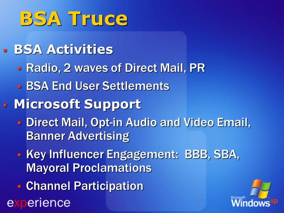BSA Truce BSA Activities BSA Activities Radio, 2 waves of Direct Mail, PR Radio, 2 waves of Direct Mail, PR BSA End User Settlements BSA End User Sett