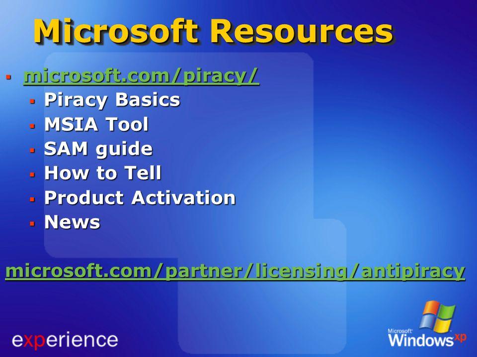 Microsoft Resources microsoft.com/piracy/ microsoft.com/piracy/ microsoft.com/piracy/ Piracy Basics Piracy Basics MSIA Tool MSIA Tool SAM guide SAM gu