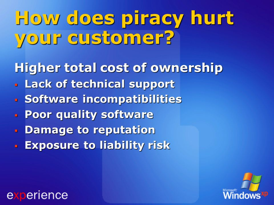 How does piracy hurt your customer? Higher total cost of ownership Lack of technical support Lack of technical support Software incompatibilities Soft
