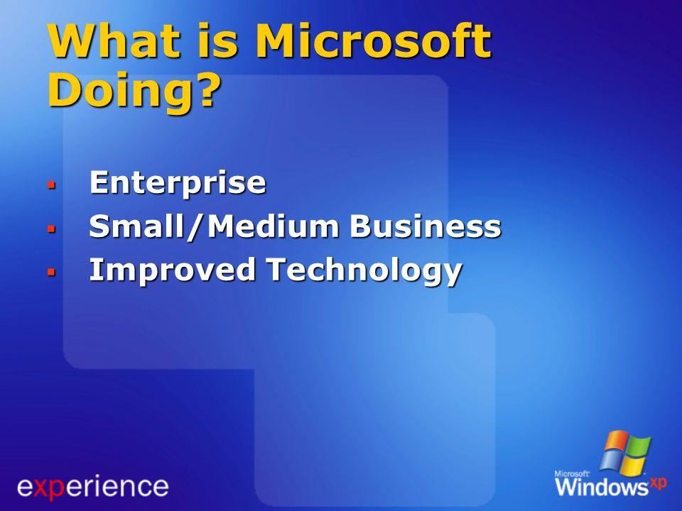 What is Microsoft Doing? Enterprise Enterprise Small/Medium Business Small/Medium Business Improved Technology Improved Technology