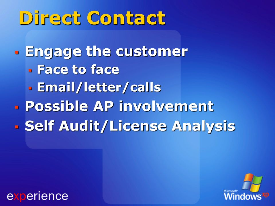 Direct Contact Engage the customer Engage the customer Face to face Face to face Email/letter/calls Email/letter/calls Possible AP involvement Possibl