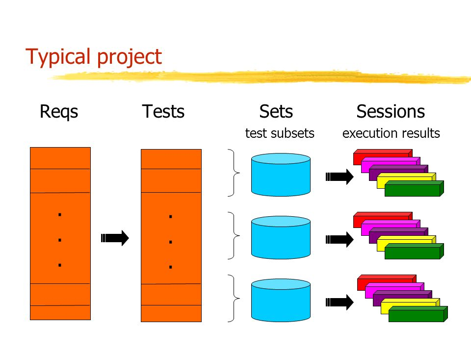 Typical project Reqs Tests Sets Sessions test subsets execution results............