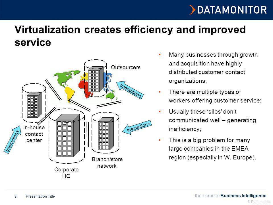the home of Business Intelligence Presentation Title © Datamonitor 9 Virtualization creates efficiency and improved service Interactions Corporate HQ In-house contact center Branch/store network Outsourcers Interactions Many businesses through growth and acquisition have highly distributed customer contact organizations; There are multiple types of workers offering customer service; Usually these silos dont communicated well – generating inefficiency; This is a big problem for many large companies in the EMEA region (especially in W.