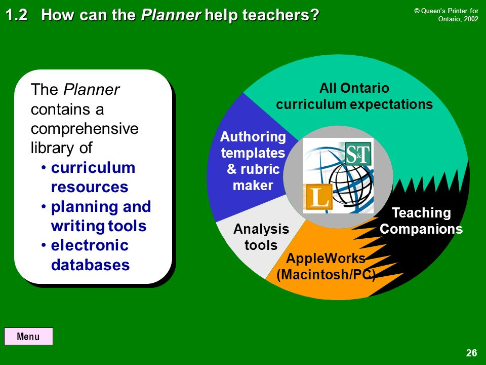 Menu © Queens Printer for Ontario, How can the Planner help teachers.