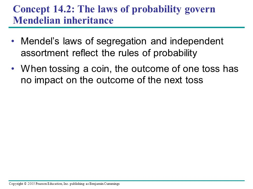 Copyright © 2005 Pearson Education, Inc. publishing as Benjamin Cummings Concept 14.2: The laws of probability govern Mendelian inheritance Mendels la
