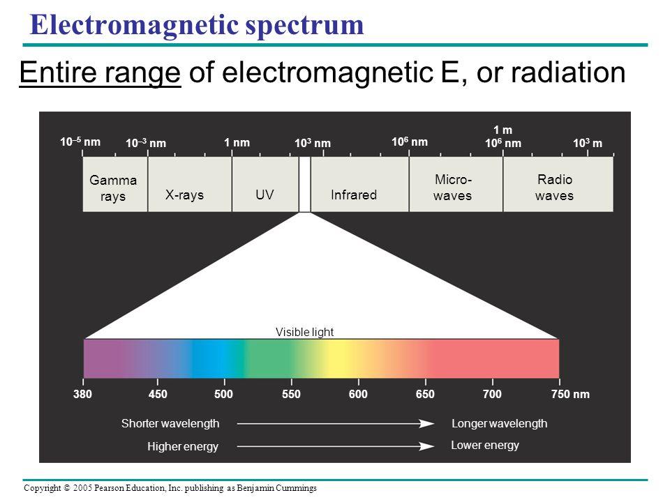 Copyright © 2005 Pearson Education, Inc. publishing as Benjamin Cummings Electromagnetic spectrum Entire range of electromagnetic E, or radiation Gamm