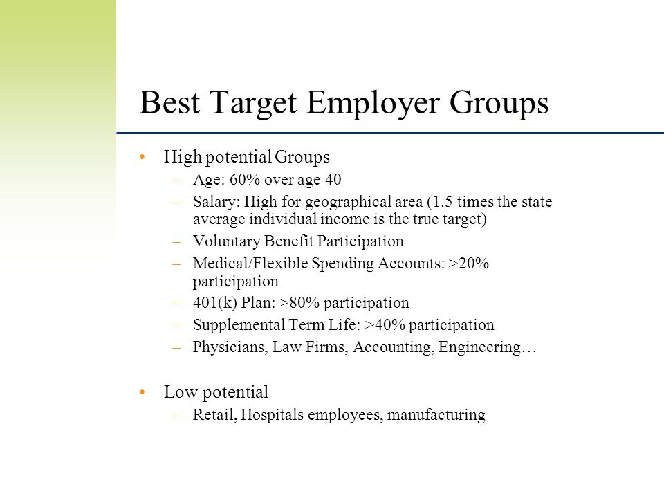 Best Target Employer Groups High potential Groups –Age: 60% over age 40 –Salary: High for geographical area (1.5 times the state average individual income is the true target) –Voluntary Benefit Participation –Medical/Flexible Spending Accounts: >20% participation –401(k) Plan: >80% participation –Supplemental Term Life: >40% participation –Physicians, Law Firms, Accounting, Engineering… Low potential –Retail, Hospitals employees, manufacturing