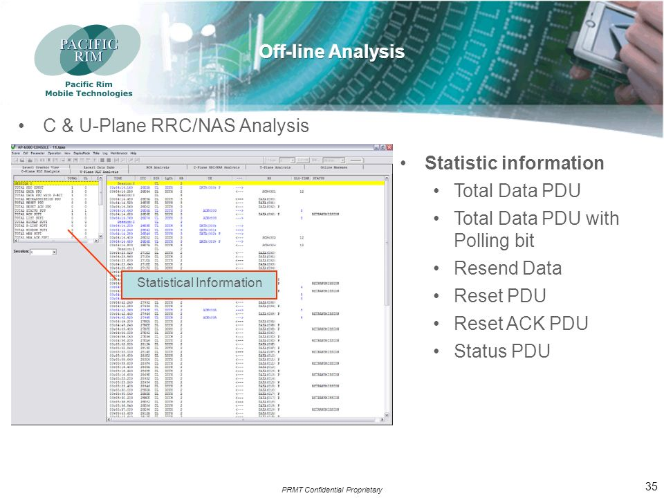 PRMT Confidential Proprietary 34 U-Plane Analysis U-Plane data in units of RLC SDUs & sequence No.