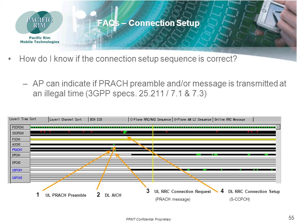 PRMT Confidential Proprietary 54 How do I know if the connection setup sequence is correct.
