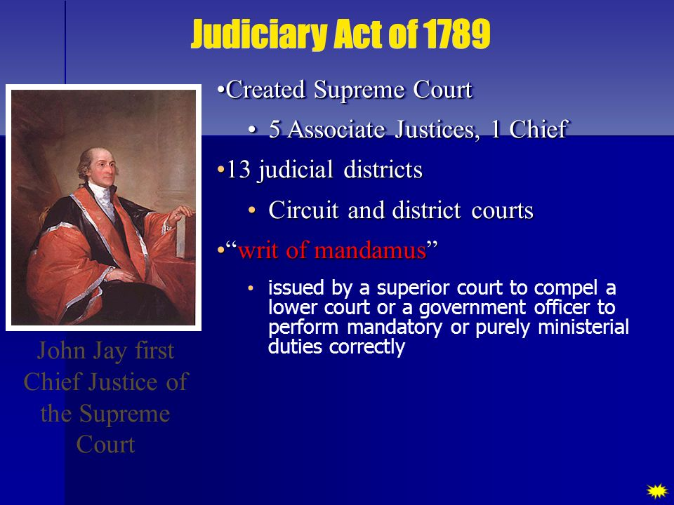 John Jay first Chief Justice of the Supreme Court Created Supreme Court Created Supreme Court 5 Associate Justices, 1 Chief 5 Associate Justices, 1 Ch