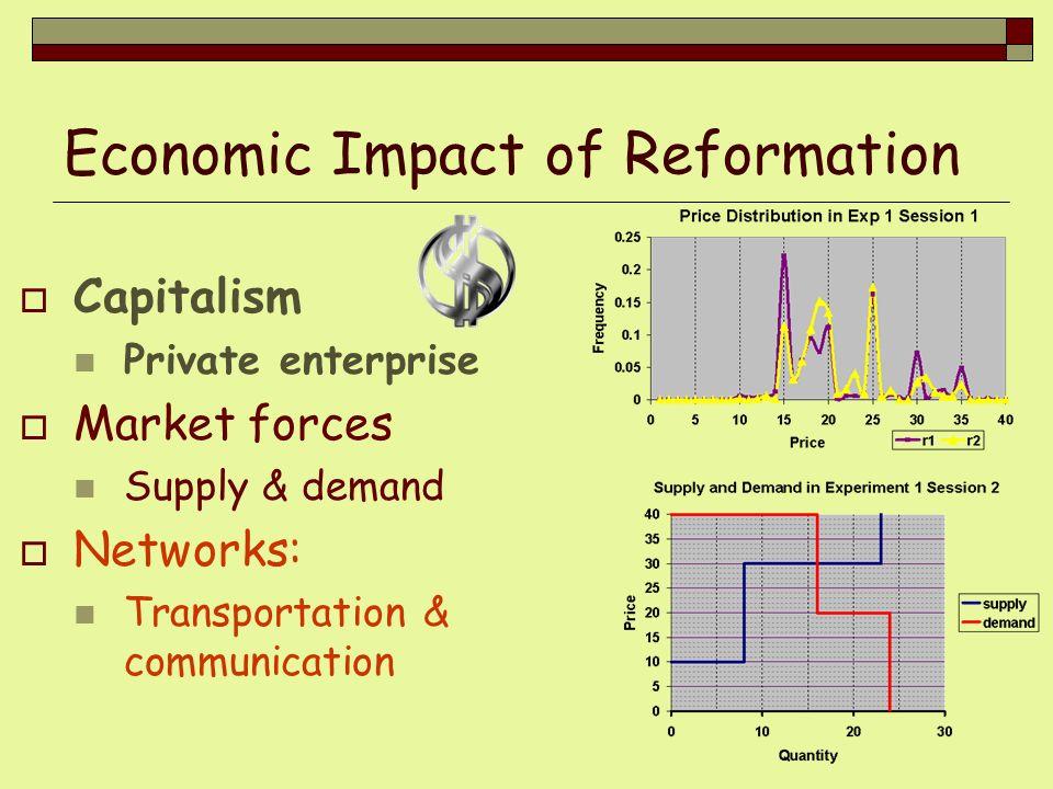 Economic Impact of Reformation Capitalism Private enterprise Market forces Supply & demand Networks: Transportation & communication