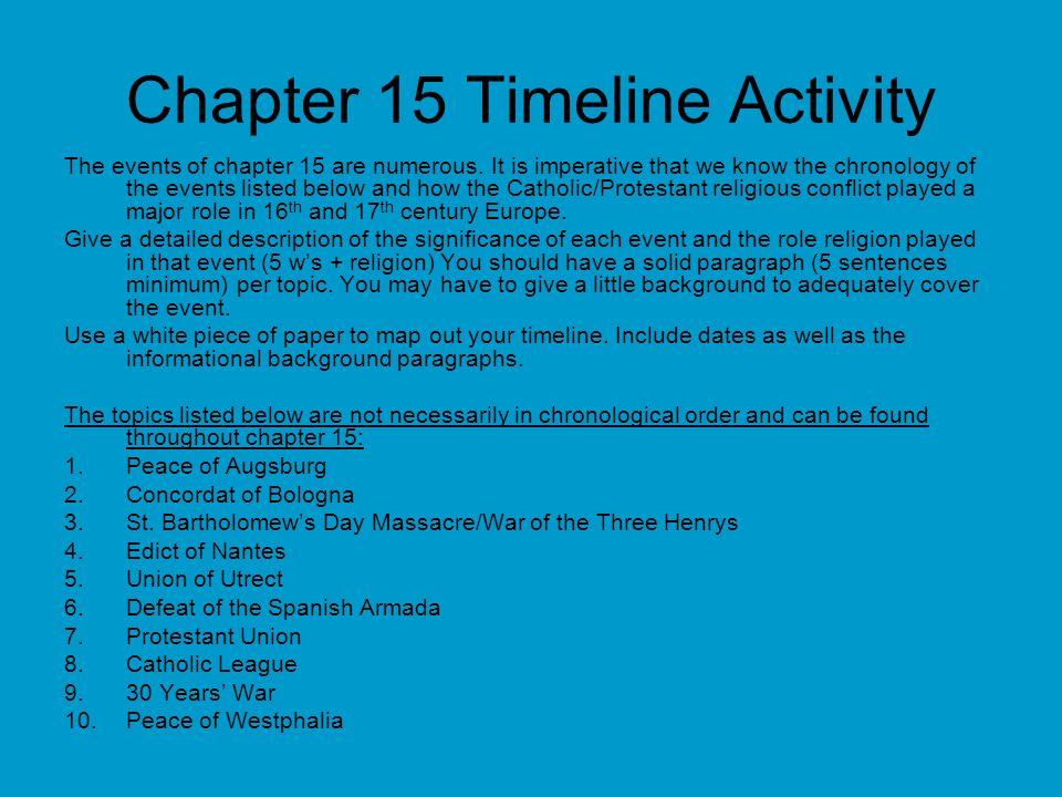 Chapter 15 Timeline Activity The events of chapter 15 are numerous. It is imperative that we know the chronology of the events listed below and how th