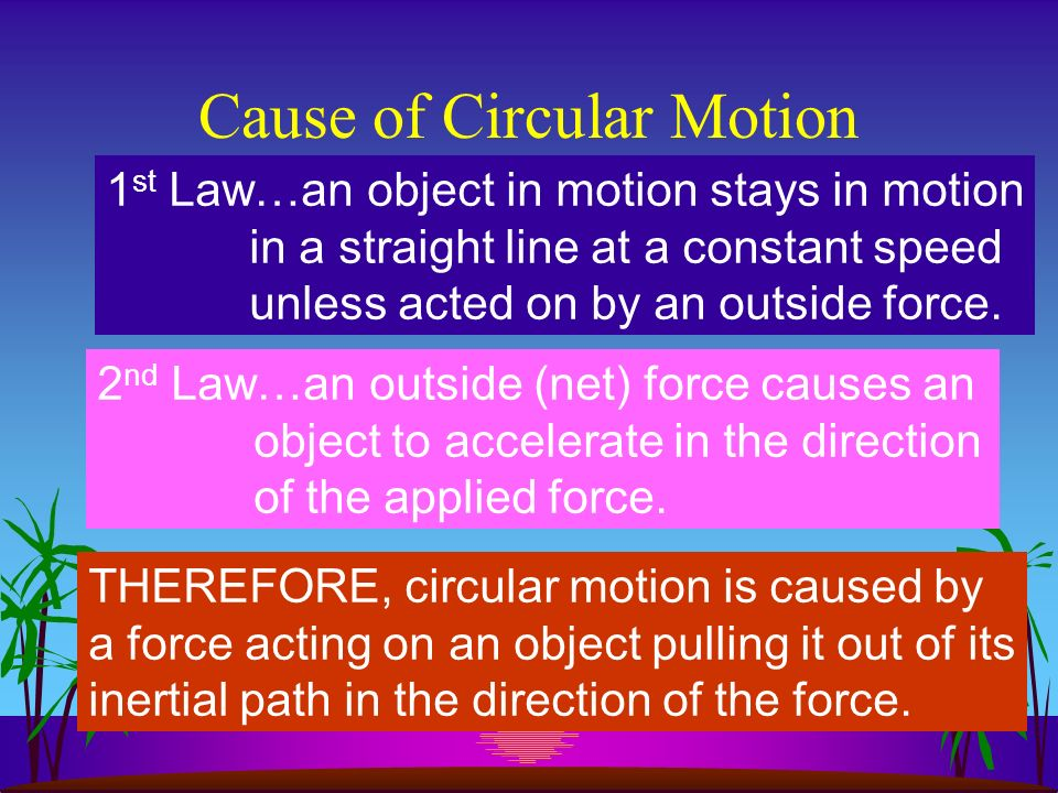 Circular Motion When an object travels about a given point at a set distance it is said to be in circular motion
