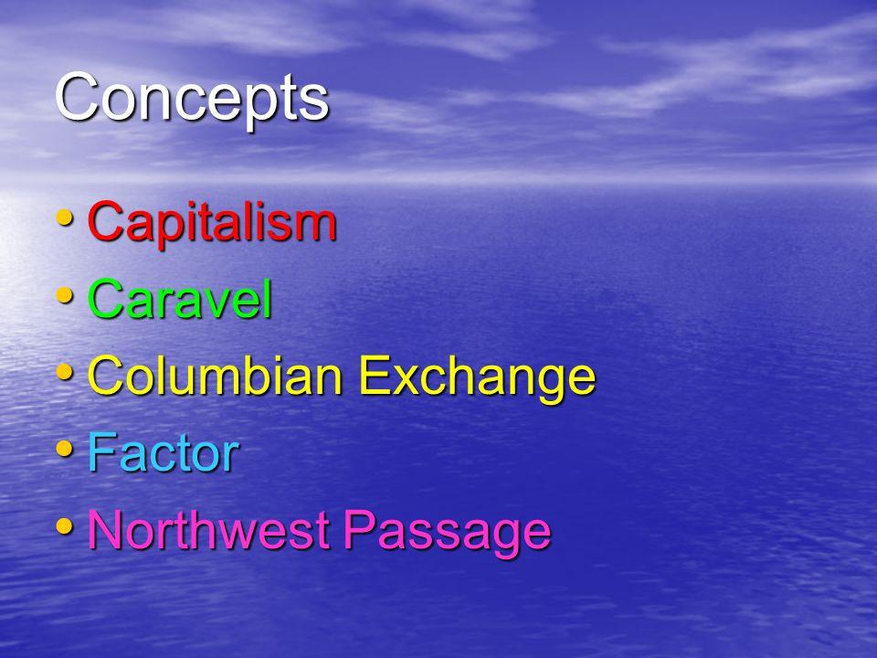 Concepts Capitalism Capitalism Caravel Caravel Columbian Exchange Columbian Exchange Factor Factor Northwest Passage Northwest Passage