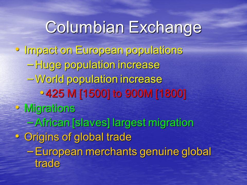 Columbian Exchange Impact on European populations Impact on European populations – Huge population increase – World population increase 425 M [1500] t