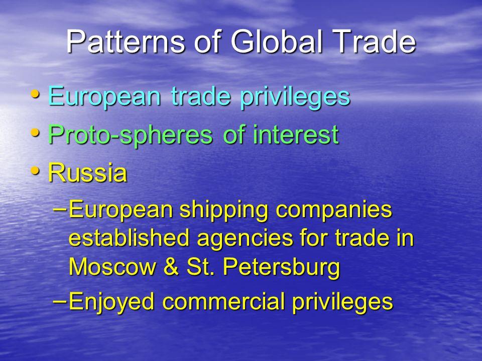 Patterns of Global Trade European trade privileges European trade privileges Proto-spheres of interest Proto-spheres of interest Russia Russia – Europ