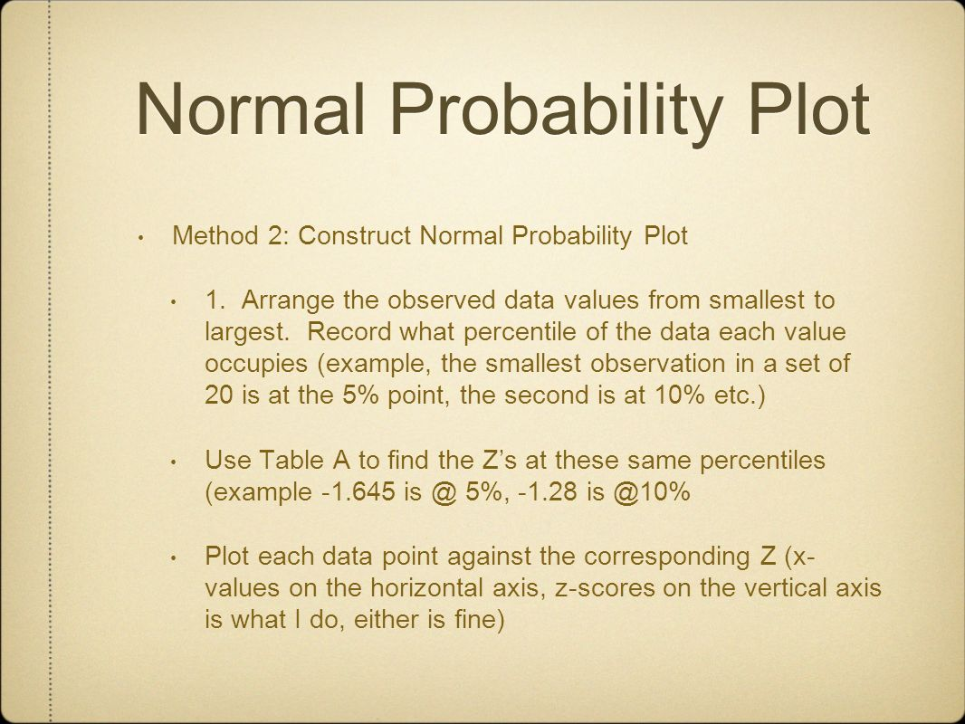 Normal Probability Plot Method 2: Construct Normal Probability Plot 1. Arrange the observed data values from smallest to largest. Record what percenti
