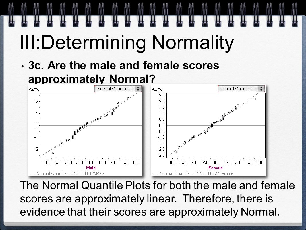 III:Determining Normality 3c. Are the male and female scores approximately Normal? The Normal Quantile Plots for both the male and female scores are a