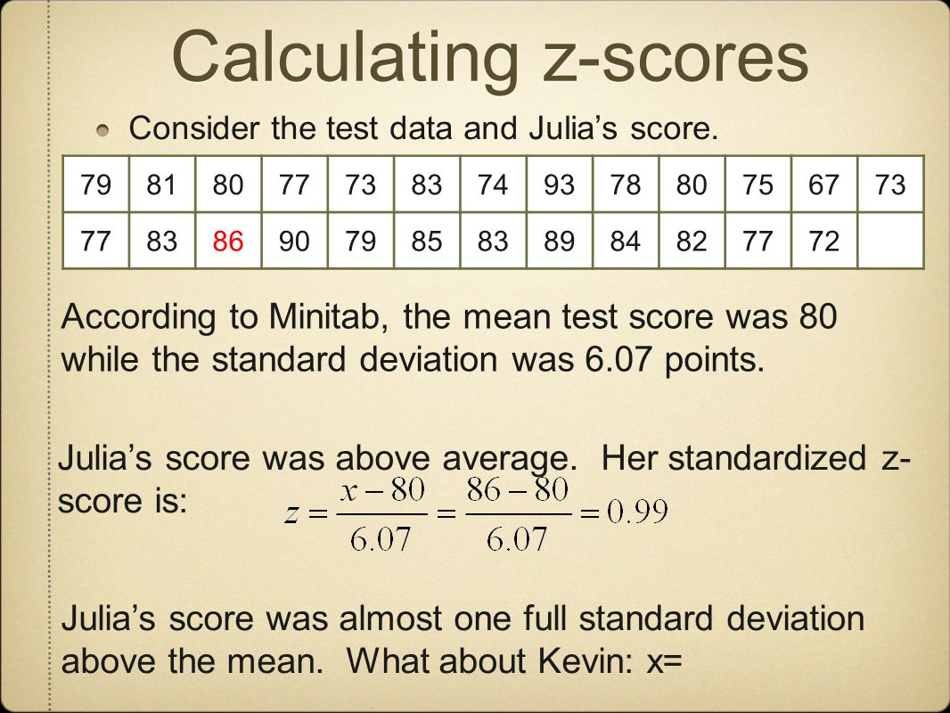 Calculating z-scores Consider the test data and Julias score. 79818077738374937880756773 778386907985838984827772 According to Minitab, the mean test