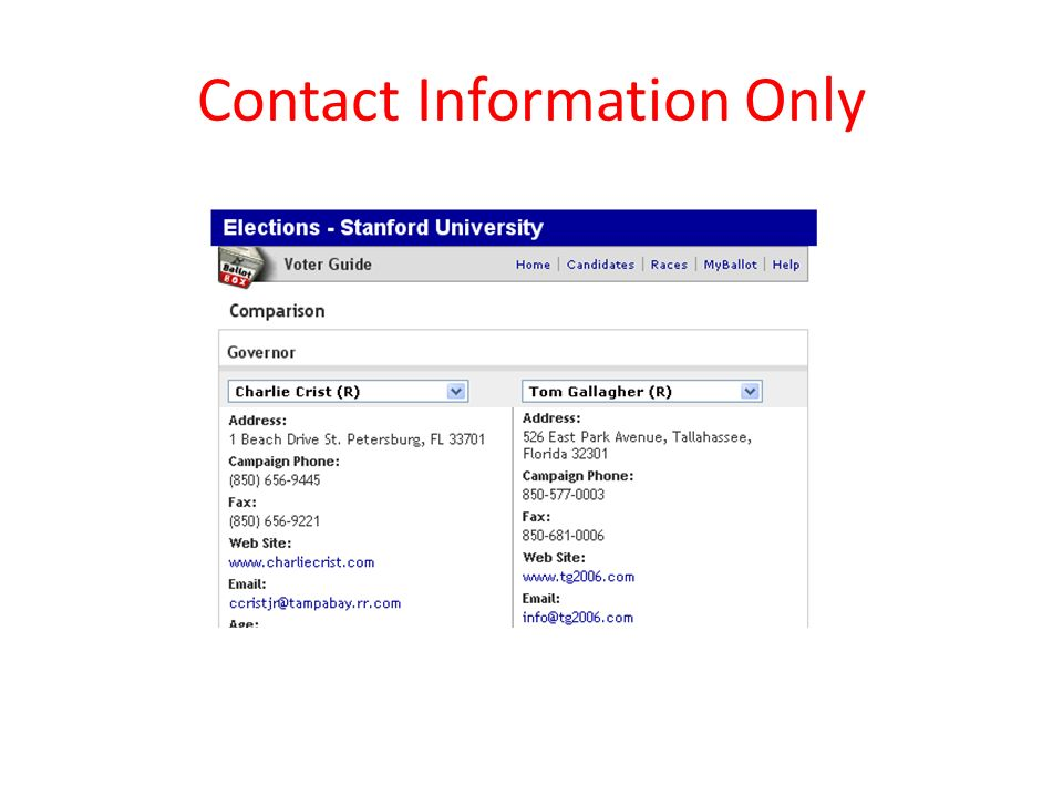 Contact Information Only