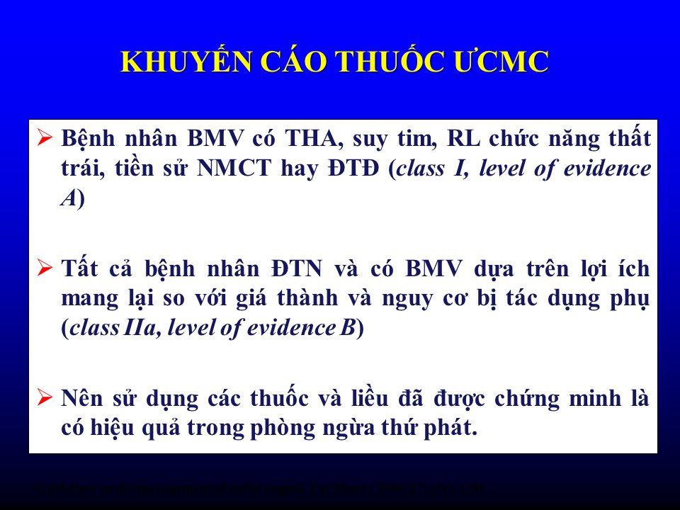 Bnh nhân BMV có THA, suy tim, RL chc năng tht trái, tin s NMCT hay ĐTĐ (class I, level of evidence A) Tt c bnh nhân ĐTN và có BMV da trên li ích mang