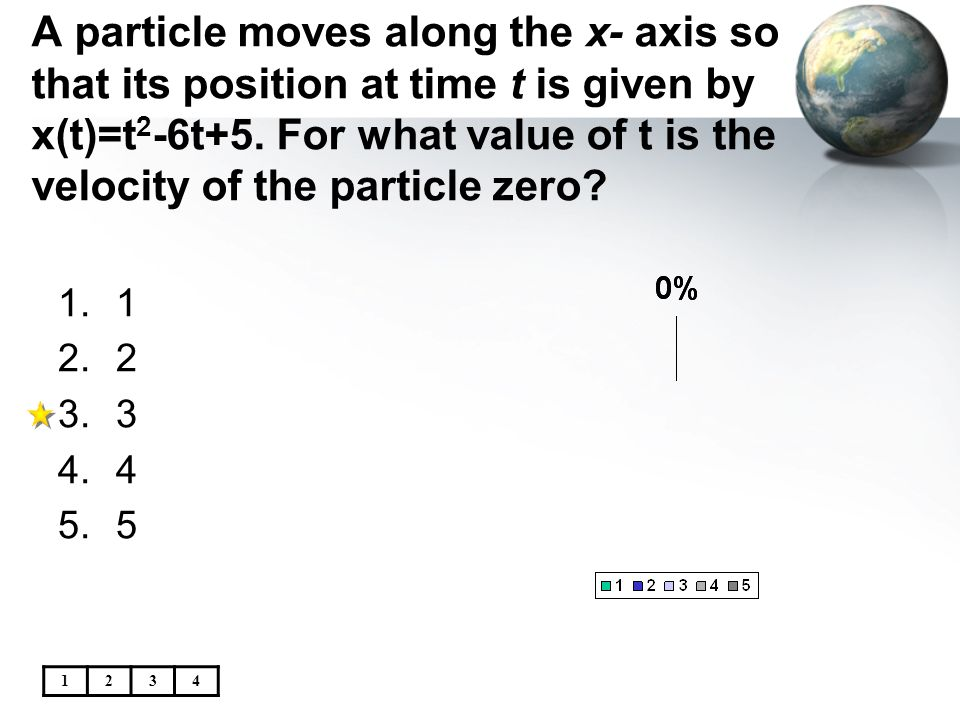 A particle moves along the x- axis so that its position at time t is given by x(t)=t 2 -6t+5. For what value of t is the velocity of the particle zero