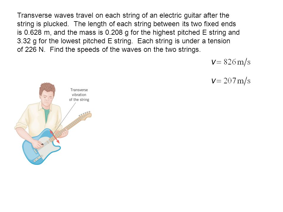 Transverse waves travel on each string of an electric guitar after the string is plucked. The length of each string between its two fixed ends is 0.62