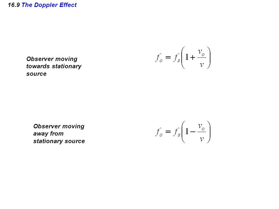 16.9 The Doppler Effect Observer moving towards stationary source Observer moving away from stationary source