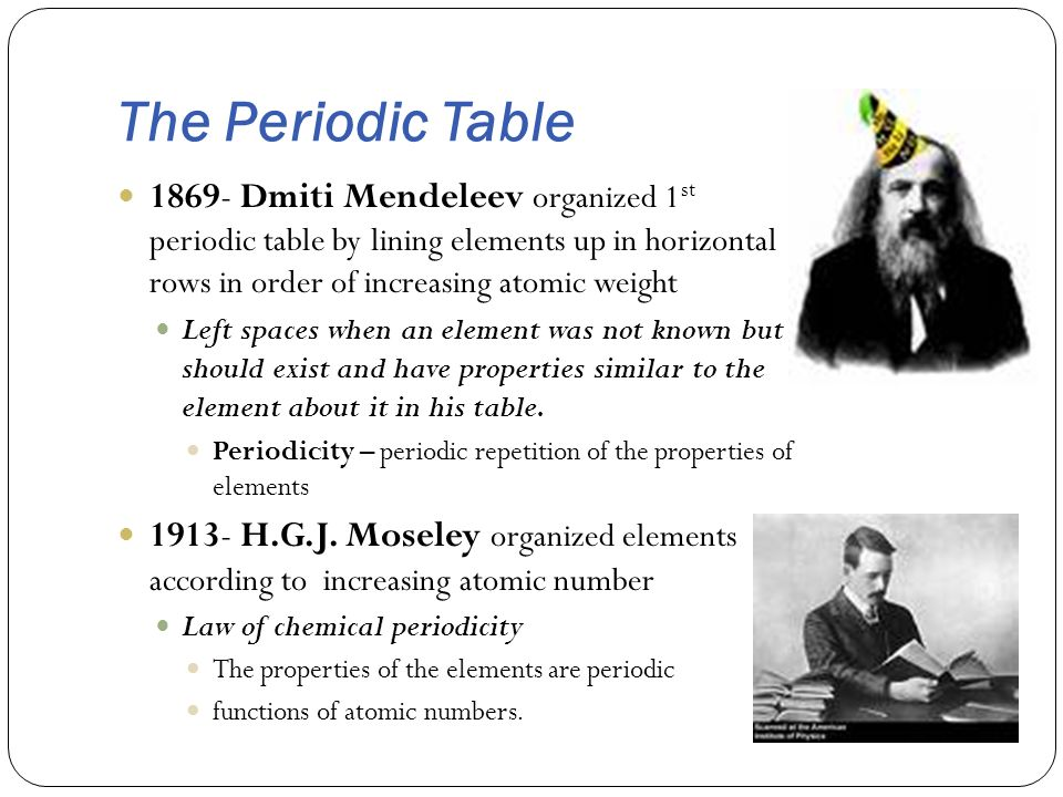 The Periodic Table 1869- Dmiti Mendeleev organized 1 st periodic table by lining elements up in horizontal rows in order of increasing atomic weight L