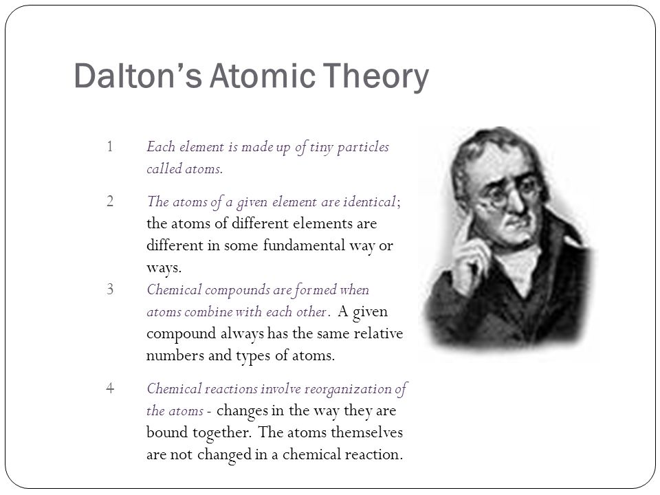 Daltons Atomic Theory 1Each element is made up of tiny particles called atoms. 2The atoms of a given element are identical; the atoms of different ele