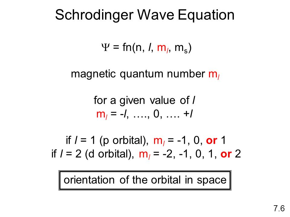 3 rd Quantum Number Magnetic Quantum Number: m l indicates the orientation of an orbital around the nucleus has values from -l +l specifies the exact
