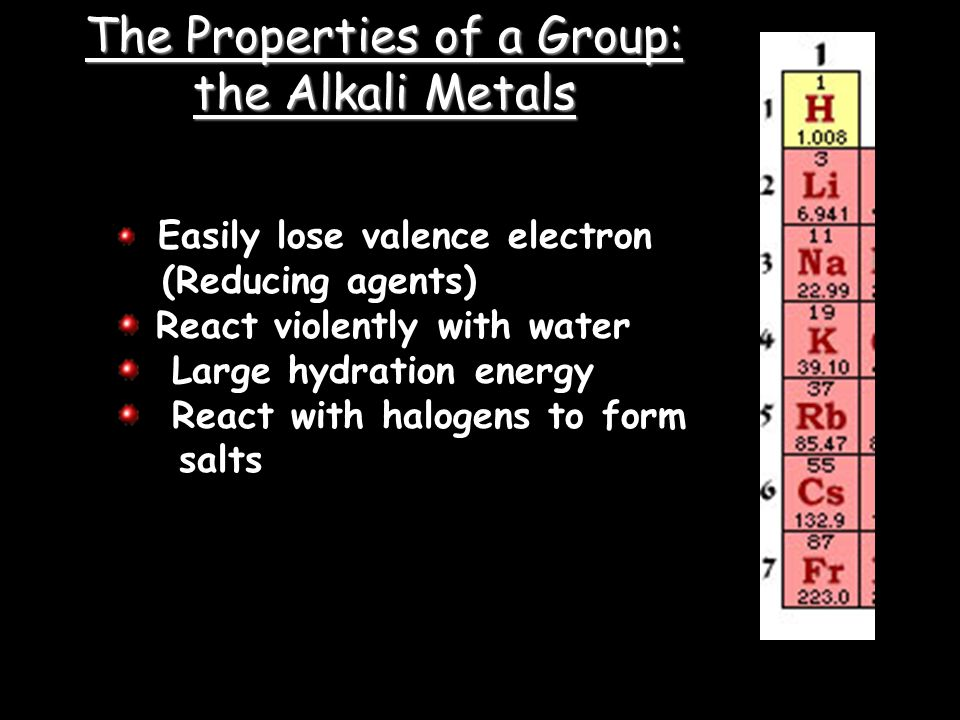 Easily lose valence electron (Reducing agents) React violently with water Large hydration energy React with halogens to form salts The Properties of a