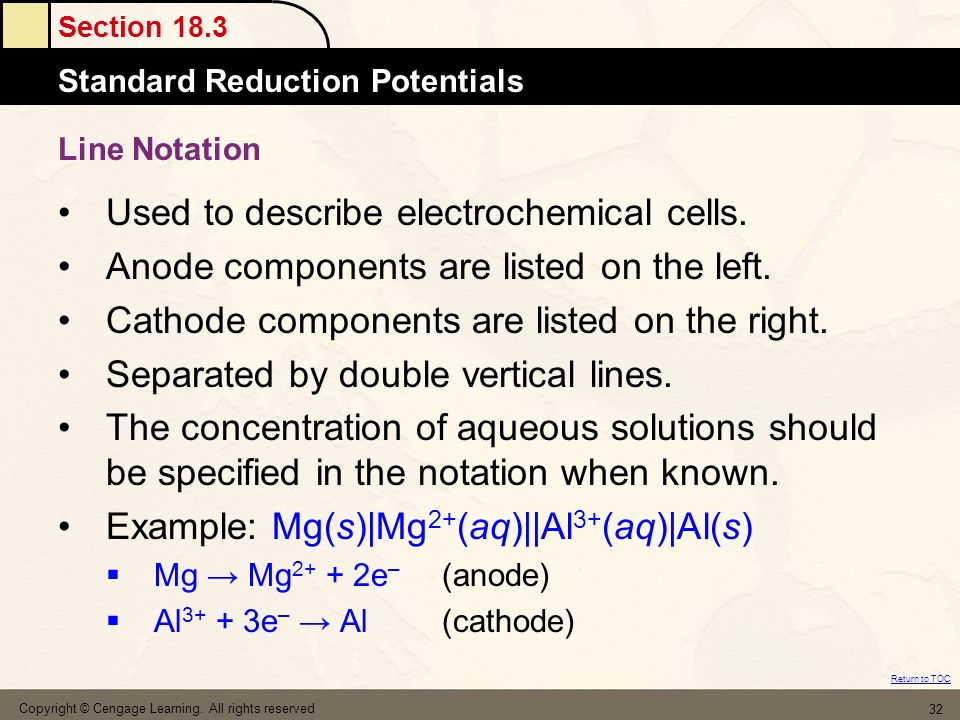 Section 18.3 The MoleStandard Reduction Potentials Return to TOC Copyright © Cengage Learning. All rights reserved 32 Line Notation Used to describe e
